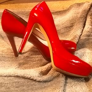 Vince Camuto red patent pumps